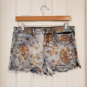 Free People Floral Distressed Cut-off shorts